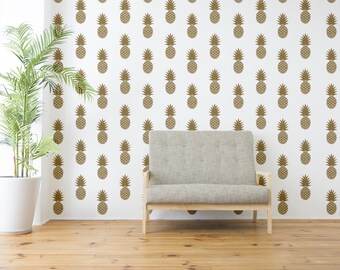 Pineapple Wall Decal, Mid Century Decals, Wall Decal, Pineapple Wall Decor, Tropical Fruit Wall Decal, Hawaiian Wall Decor, Fruit