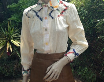 ORIGINAL 60s 70s hippie folk cheesecloth linen blouse shirt with patchwork embroidery XS S uk 8 10 *details tbc*