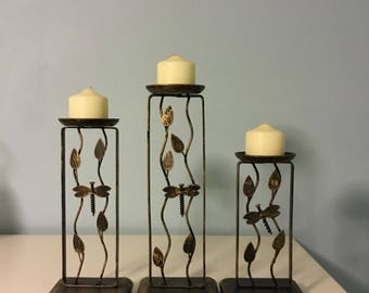 Metal Candleholders Dragonfly Candleholders Set of 3 Candleholders  Vintage Candleholders
