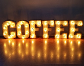 """Metal Marquee Sign 7"""" COFFEE Marquee Lights"""