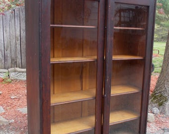 Glass door bookcase etsy early 1900s antique oversized glass door bookcase mahogany carved scrolled pickup only planetlyrics Choice Image