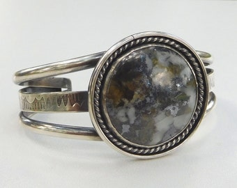 Stone cuff bracelet | Tribal style bracelet | Silver Cuff Bracelet | stone statement bracelet | sterling silver cuff | Large stone cuff