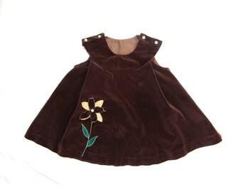 vintage dress girl children toddler handmade brown flower applique size 2t 2