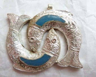 CLEARANCE Twin Fish Pendant from Afghanistan, Ethnic Fish Pendant, Pisces Pendant