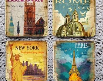 World Tour -- Vintage Inspired Travel Posters Mousepad Coaster Set