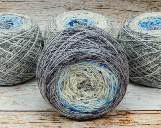 "Full "" Triple Crossroads "" - Llark Handpainted Gradient Speckle Fingering Weight Yarn"