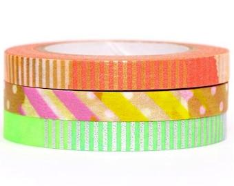 Slim Neon Stripe mt Washi Masking Deco Tape Set (3 Pieces)