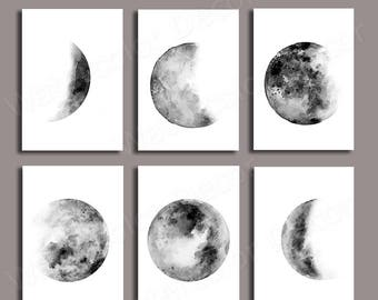 Moon Phases Watercolor Art Prints - Set of 6 Lunar Phases Prints -Black/White Moon Chart Posters - Geeky Gift