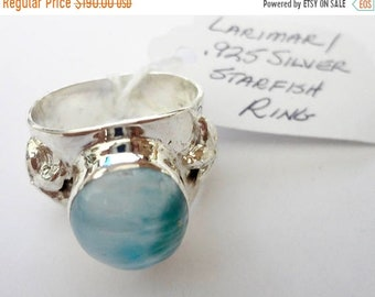 """MOTHERS DAY SALE Stunning Genuine Aaa Grade Larimar Men's """"Starfish"""" Ring .925 Sterling Silver  Free U.S. Shipping  U.S. Size 11 3/4"""