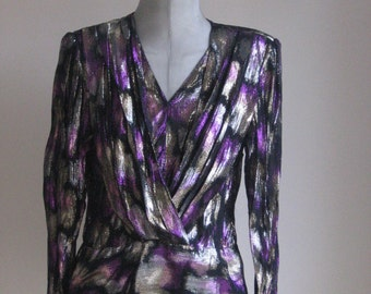 70s 80s vintage  glam lurex top