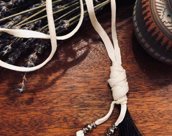White Deerskin Leather Necklace with Black Horsehair Tassle and Metal Beads