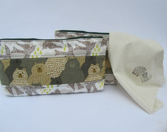 Quilted Zipper Pouch Set Bears Can Fly