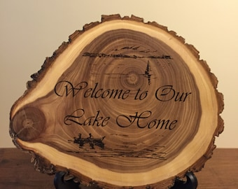 Laser Engraved Natural Wood Plaque! Lake Home Log Cabin Rustic Old West Style