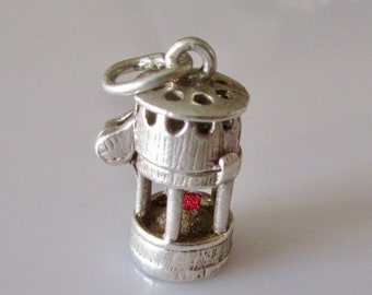 Silver Nuvo Miners Lamp with Enamel Wick Opening Charm