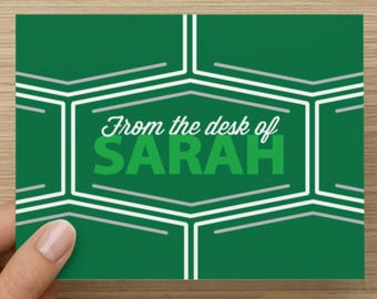 From The Desk Of...Personalized Folded Notecard Set of 10
