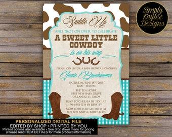 Rustic Cowboy Baby Shower Invitation