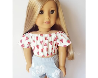 18 inch doll clothes - watermelon peasant top