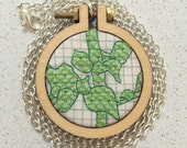 Botanical fabric mini embroidery hoop pendant necklace. Botanical jewelry. Statement necklace. Cross stitch. Dandelyne. Mother's Day