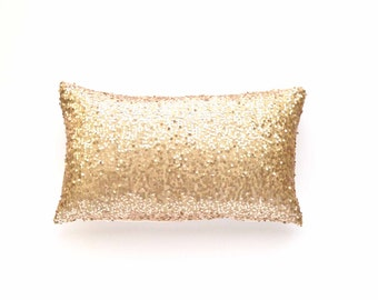 "Sequin Lumbar Pillow Cover - Champagne Sequin - 12"" x 20"" - Throw Pillow, Decorative Gold Pillow, Lumbar Throw Pillow"