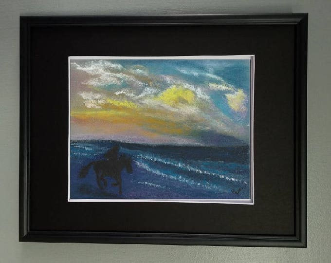 "8x10 Original Pastel Painting, Water Painting, Horse and Rider, ""Early Morning Ride Along Beach"""