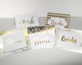 Wedding Place Cards in Real Gold Foil, Personalised Gold Foil Wedding Cards,  Wedding Prints