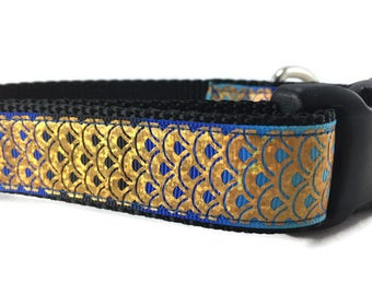 Dog Collar and Leash, Fish Scales, 6ft leash, 1 inch wide, adjustable, plastic buckle, metal buckle, chain, martingale, quick release