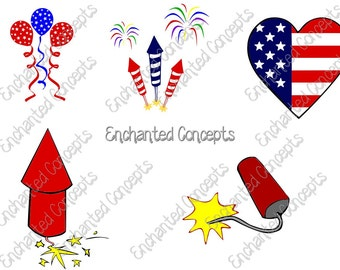 Patriotic SVGS, 4th of July cutting files, eps, svg, dxf, png, cutting plotter files, fireworks, balloons, American Flag, Silhoutte, Cricut