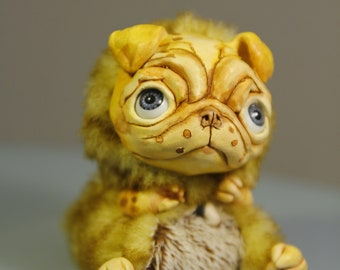 "Buldog – Cute kawaii magical creature. Artist made doll, 4"", OOAK, natural clay. OlVik Dolls Ukraine"