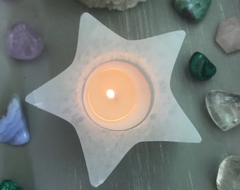 SELENITE STAR Candle holder  // free unscented tealight included // selenite candle holder