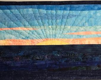 Art Quilt sunrise 7, Landscape Quilt, Wall Hanging, Wall Quilt