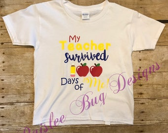 My Teacher Survived 100 Days With Me Shirt, 100 Days of School Shirt, 100th Day of School Shirt, I Survived 100 Days of School Shirt