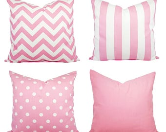 One Baby Pink Throw Pillow - Decorative Throw Pillow - Pastel Pink Pillow - Pink Chevron Pillow - Pink Nursery Pillows - Pale Pink Pillow