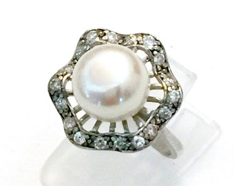 Pearl and CZ Sterling Silver Ring, Floriated Design, Center Pearl Rippled Collar of CZ Stones, Vintage, Wedding Jewelry, Hallmarked, Size 7