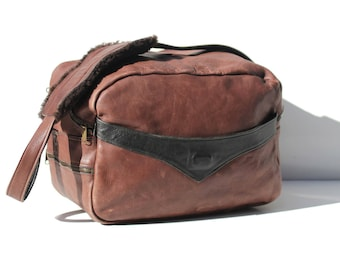 Vintage Men's Chocolate Brown Leather Overnight Bag