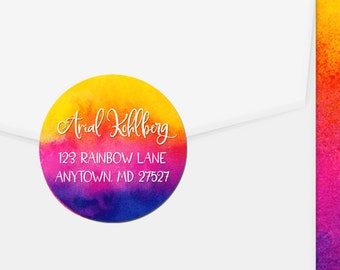 Personalized Address Labels / Rainbow Splash / Colorful / Return Address Label / Envelope Seals / Wedding Labels / Thank You Stickers