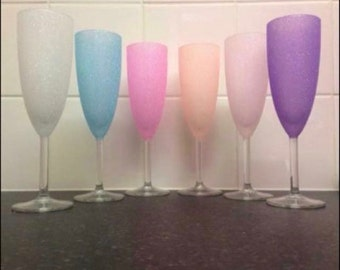Set of 6 glittered Champagne flutes