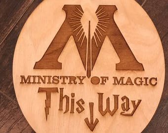 Laser Engraved Ministry of Magic This Way Wooden Sign