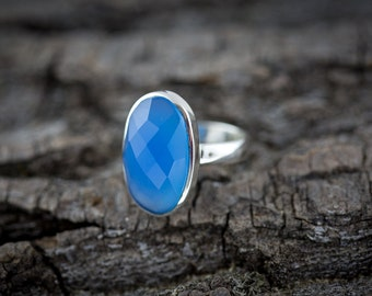 Dazzling Sterling Silver Ring with Large Oval Blue Chalcedony Gemstone - Handmade ring