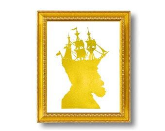 Gold Captain Nautical Silhouette Print Pirate Ship Golden White Beach House Decor Metallic