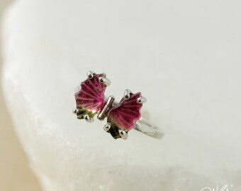 Dark Cranberry Pink Tourmaline Butterfly Ring - Green Tourmaline - Butterfly Jewelry, Choose Your Setting