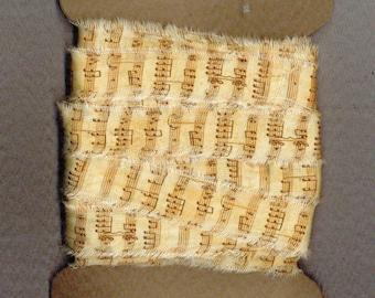 10 yards vintage music ribbon handmade trim gift wrap Paris tag craft supplies  . 1145 . ....oohlala