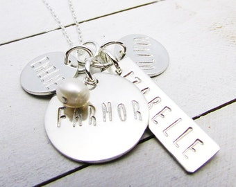 Custom Family Necklace, Sterling Silver Name Charms, Personalized Family Charms, Mommy Necklace, Silver Necklace, Custom Gift for Mom