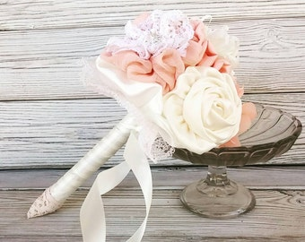 Toss bouquet, blush toss bouquet, flower girl bouquet. bridesmaids bouquet, small bouquet,  fabric flowers bouquet