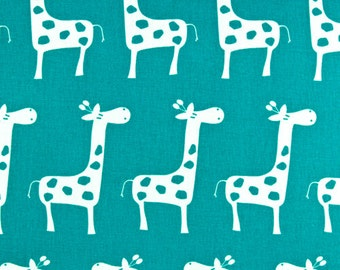 SALE - Turquoise Blue Giraffe Fabric - Premier Prints Stretch -  Fabric by the 1/2 yard