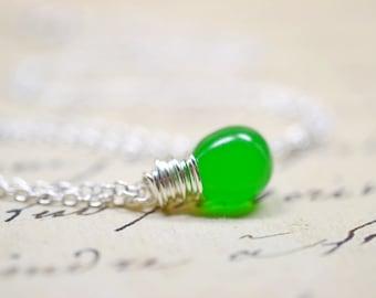 Apple Green Wire Wrap Necklace, Simple Modern Minimalist Jewelry, Kelly Green Pendant, Sterling Silver Chain