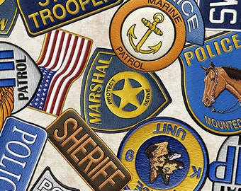 Police Badges - Natural 26128-E by Quilting Treasures Cotton Fabric Yardage