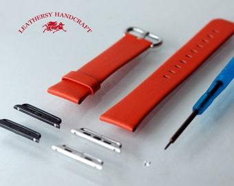 Orange Red Genuine Leather - Apple watch band / strap & Lugs for 38mm and 42mm watch strap