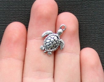 BULK 50 Turtle Charms Antique  Silver Tone - SC2295