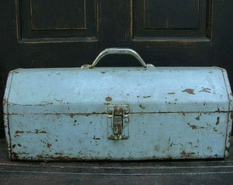 Vintage Metal Tool Box | Old Salvaged Toolbox | Shabby Rustic Industrial | Rusty Grungy Blue Paint | With Removable Tray
