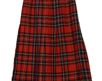 S_006) Vintage Scottish diamond pleated skirt RED